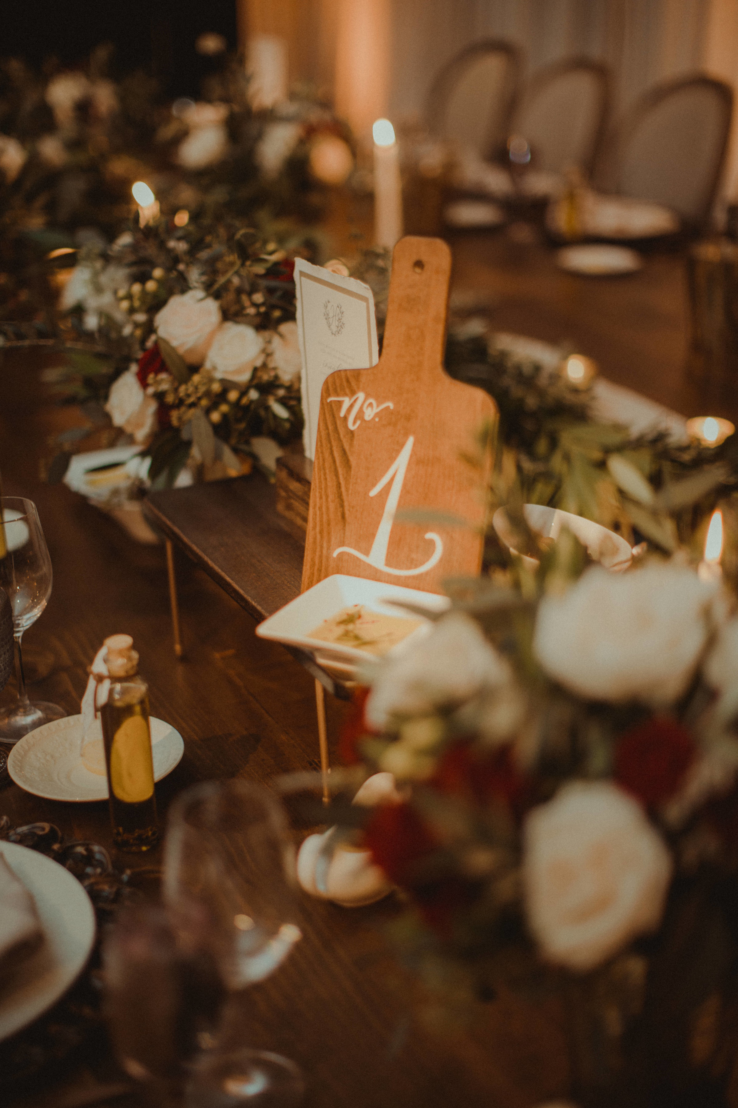 Mediterranean inspired family style wedding reception at Bella Collina