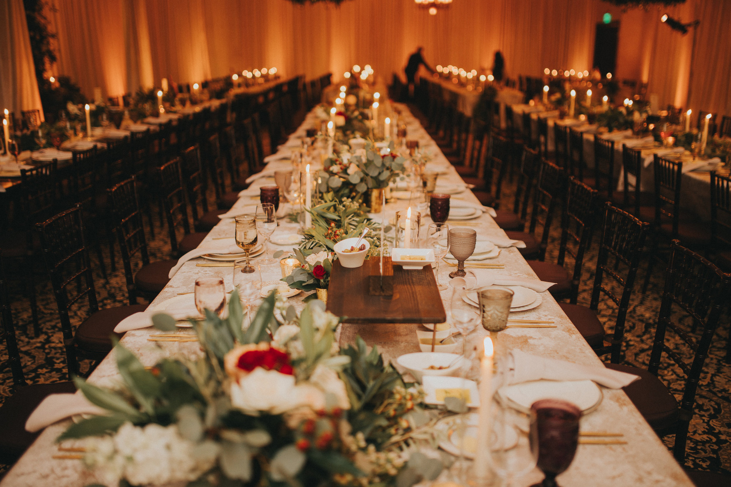 Modern day wedding reception banquet