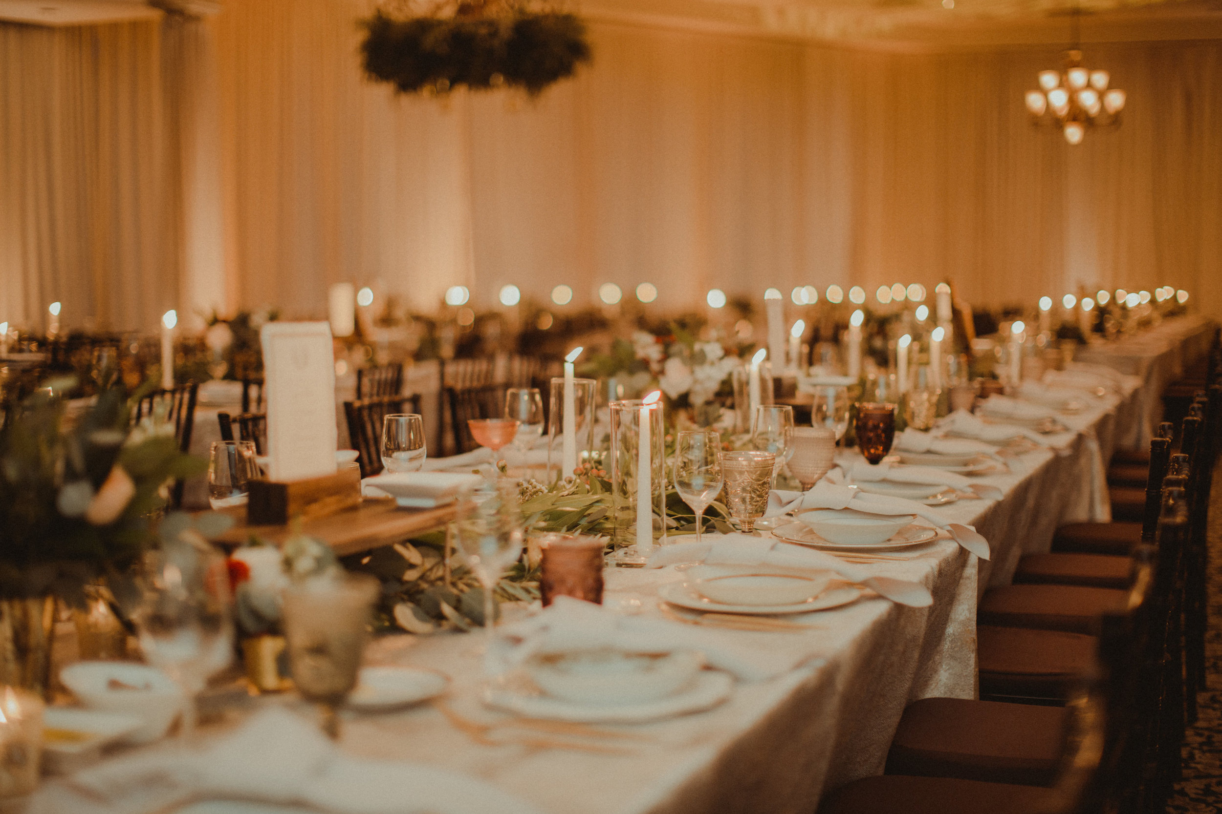 Family style banquet tables in Bella Collina Ballroom