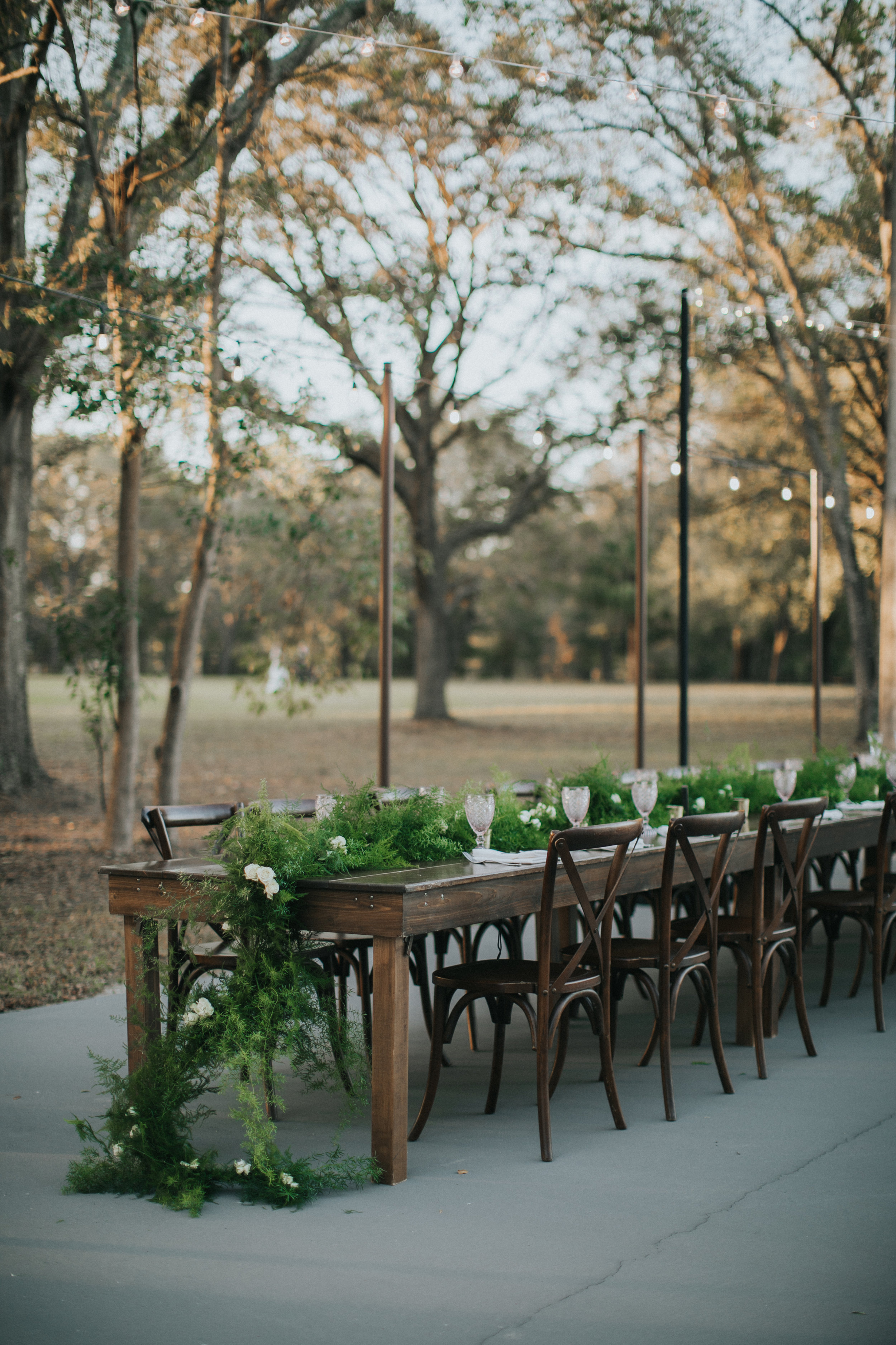 Wedding reception farm tables from Orlando Wedding & Party Rentals
