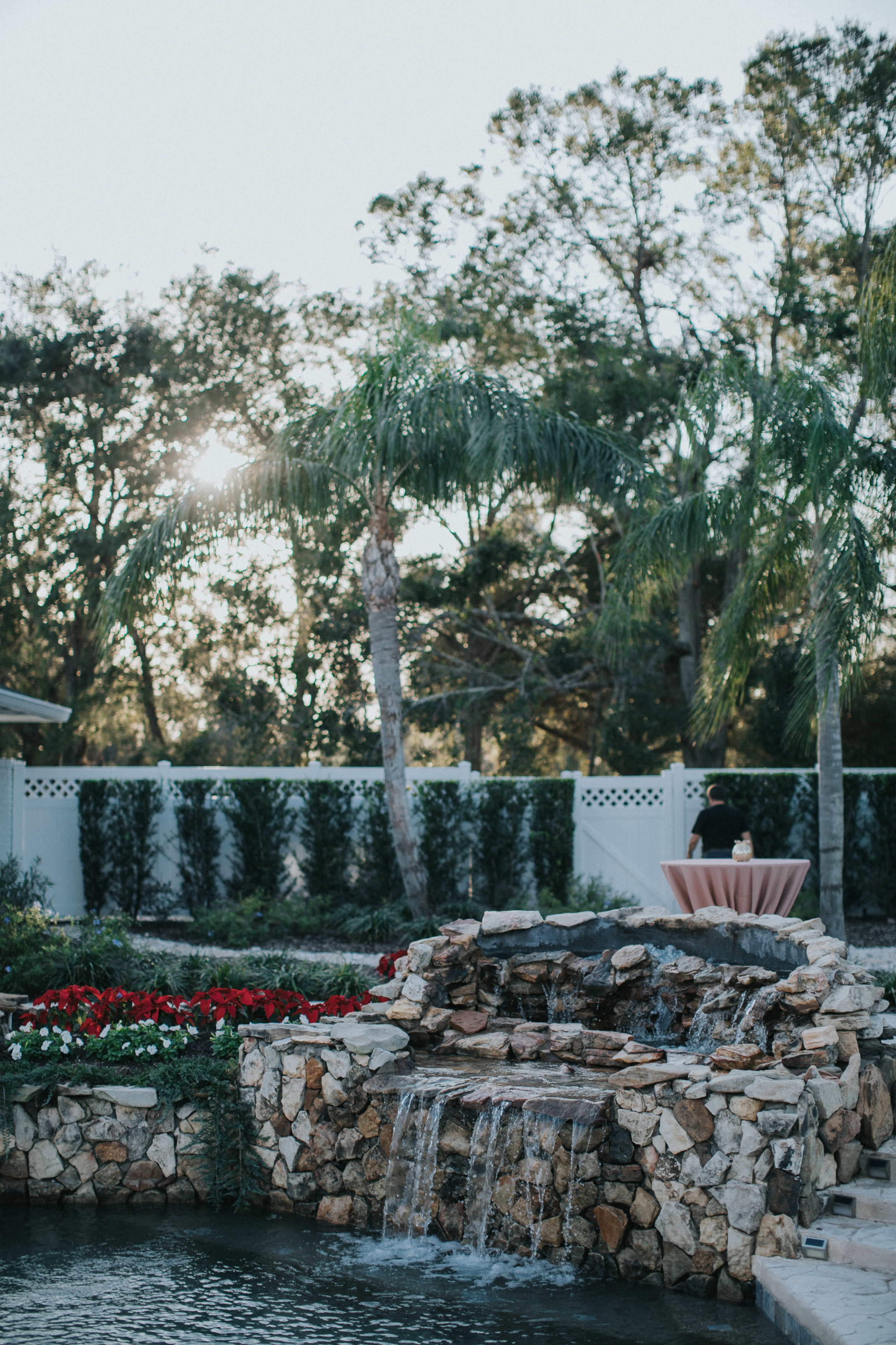 Poolside fountain at Arundel Estate
