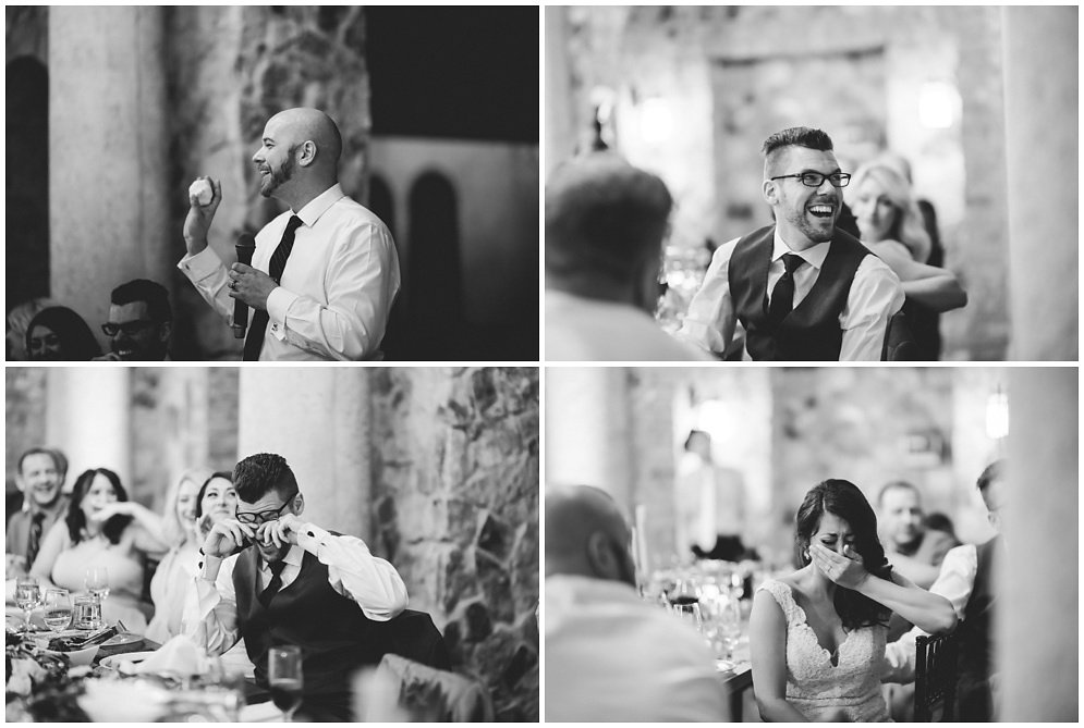 Wedding speeches at a tuscan inspired reception  Orlando Wedding Planner Blue Ribbon Weddings  Orlando Wedding Photographer Emma Shourds Photography  Wedding Ceremony at Bell Tower at Bella Collina  Wedding Reception in Atrium at Bella Collina
