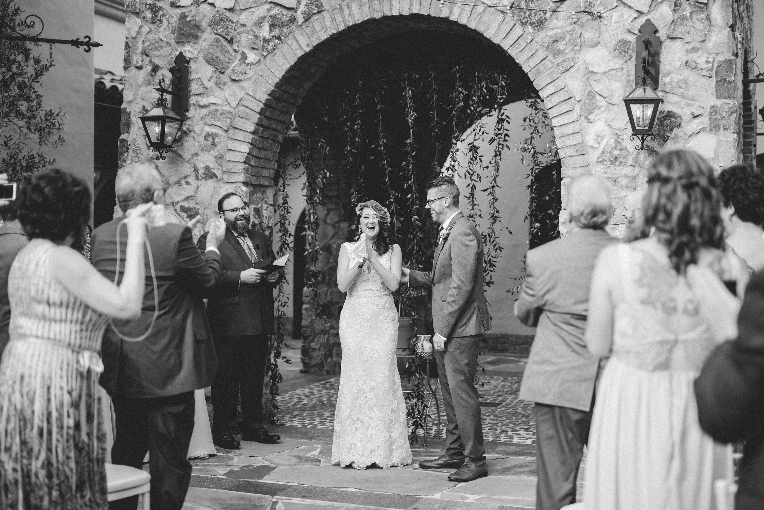 Tuscan wedding ceremony  Orlando Wedding Planner Blue Ribbon Weddings  Orlando Wedding Photographer Emma Shourds Photography  Wedding Ceremony at Bell Tower at Bella Collina  Wedding Reception in Atrium at Bella Collina
