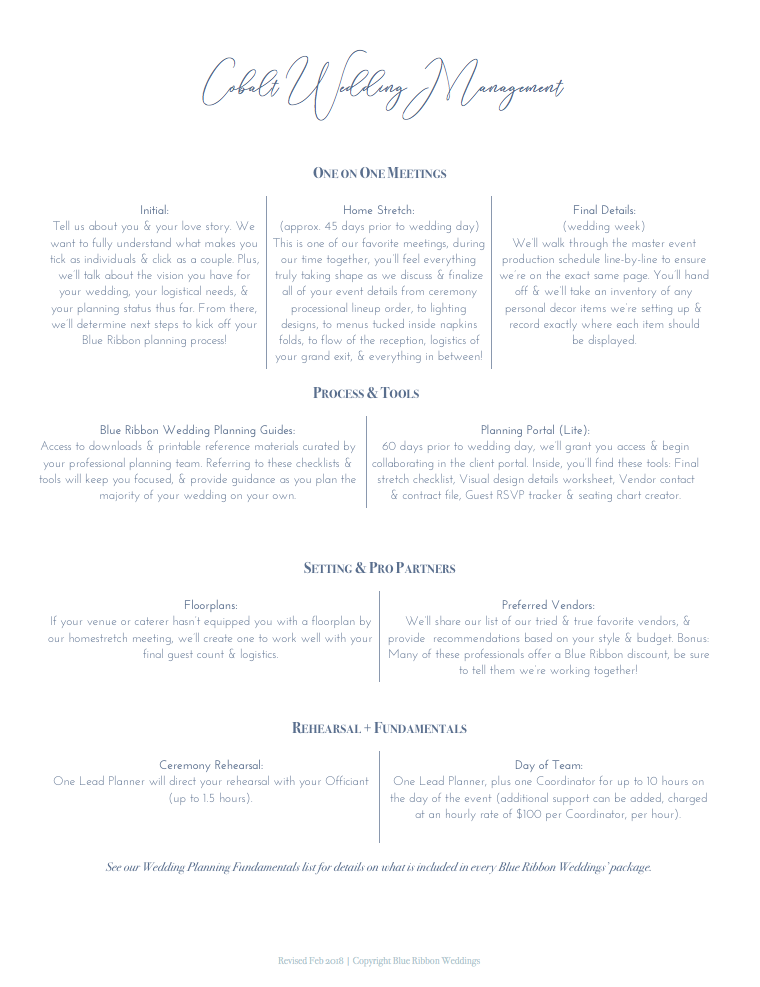 Cobalt Wedding Management Details