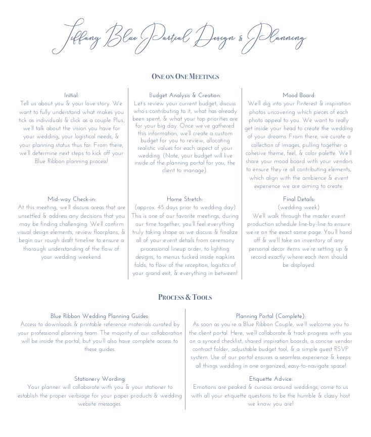 Tiffany Blue Partial Design + Planning Details