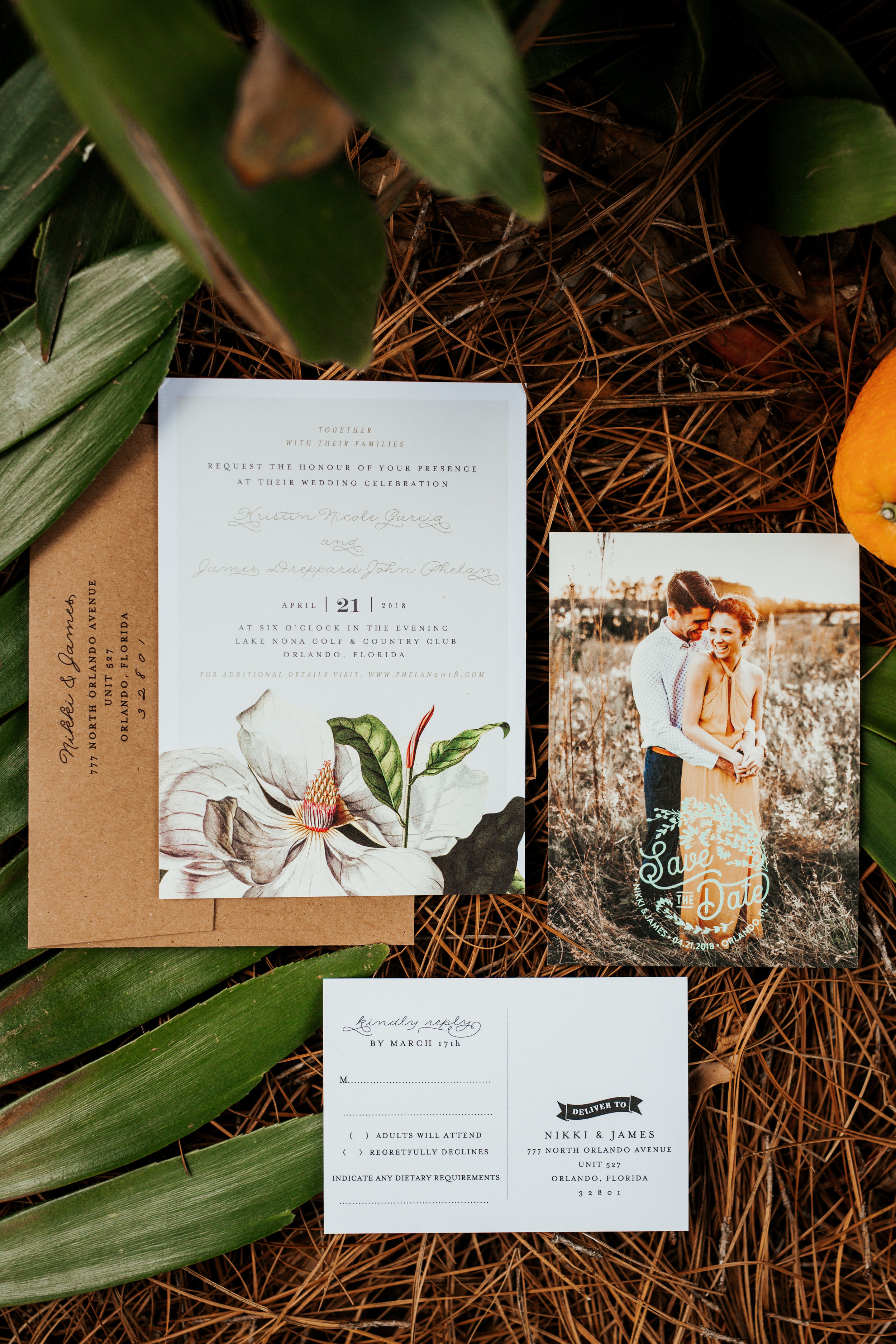 Magnolia Stationary for an Old Florida Style Wedding in Orlando, Florida  Orlando Wedding Planner Blue Ribbon Weddings  Orlando Wedding Photographer 28 North Photography  Wedding Ceremony & Reception at Lake Nona Golf & Country Club