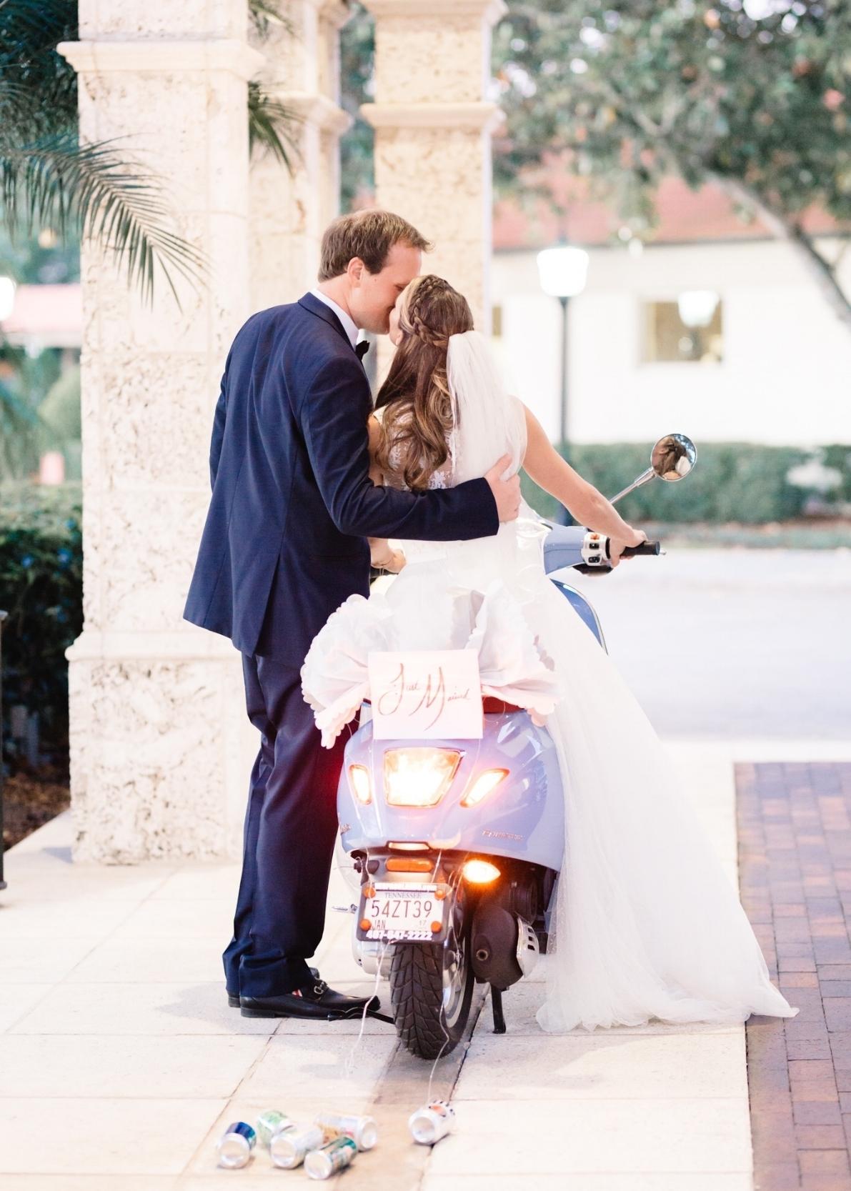 Vespa grand exit Interlachen Country Club wedding