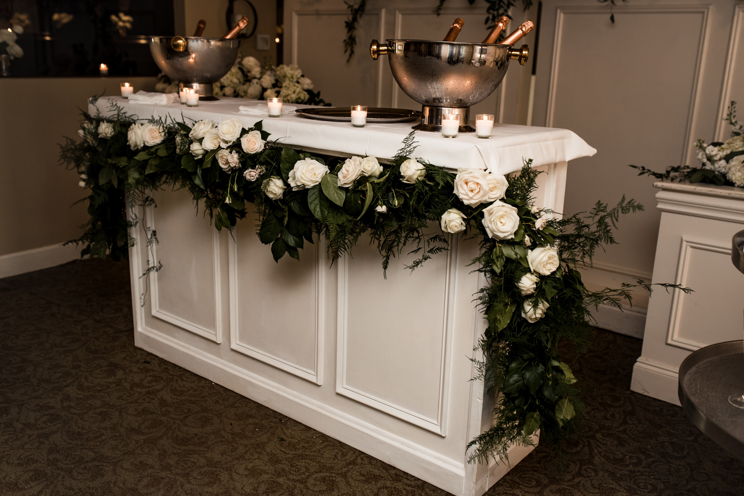 Winter Park Racquet Club Wedding Champagne Bar with Velvet & Twine Florals, Planning by Blue Ribbon Weddings