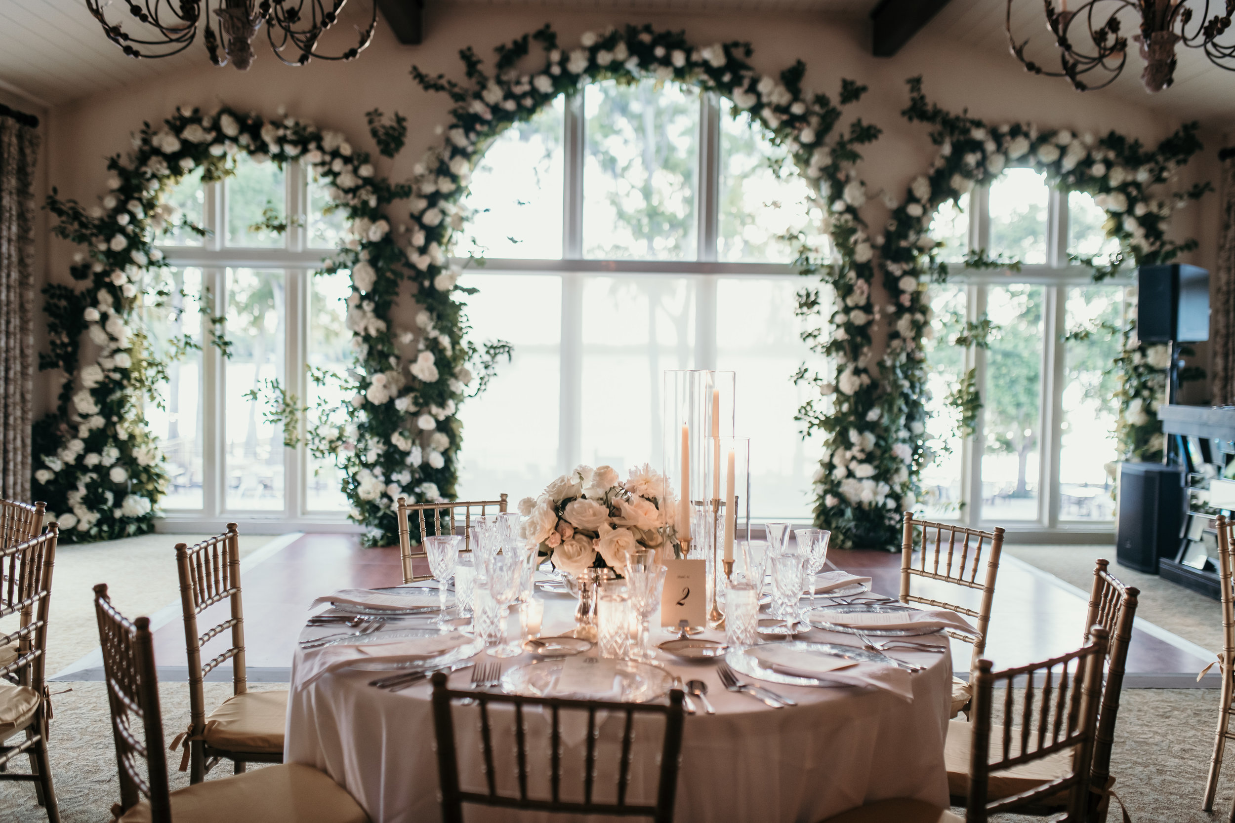 Arch window florals. Winter Park Racquet Club Wedding with Velvet & Twine Florals, Planning by Blue Ribbon Weddings