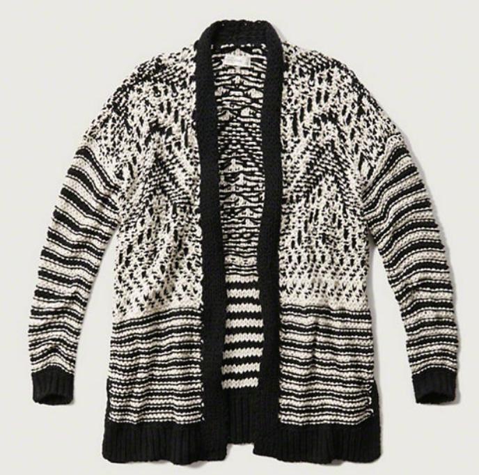 Patterned Jumbo Knit Cardigan