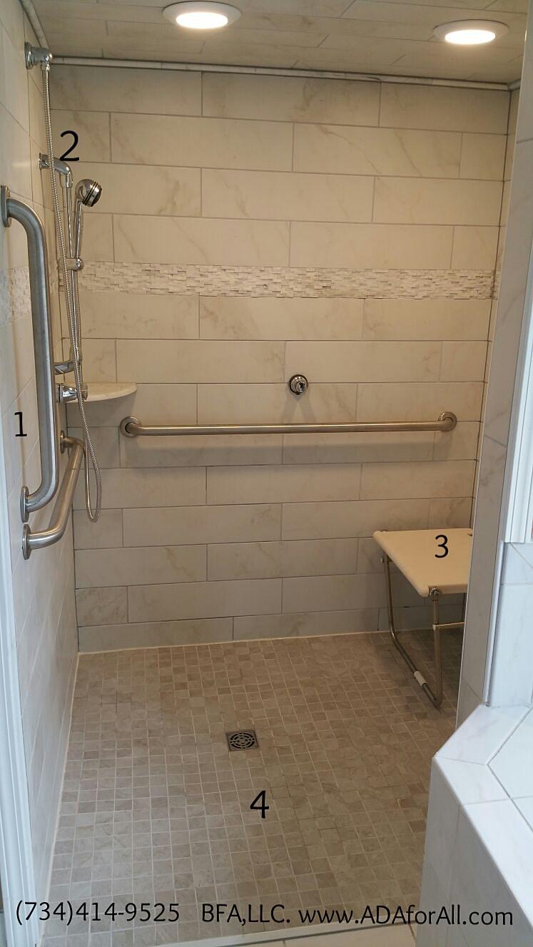 1. Grab bars, 2. Hand shower, 3. Folding shower bench, 4. Roll-in Shower