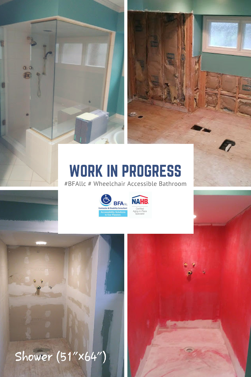 Before and Work in Progress pictures. Call BFA, llc Contractor & Disability Consultant for a free assessment and consultation of how to make your home safer and more accessible to meet your long-term needs.