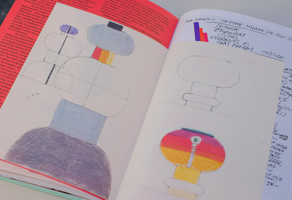 Vellum-like sheets with sottsass' playful sketches