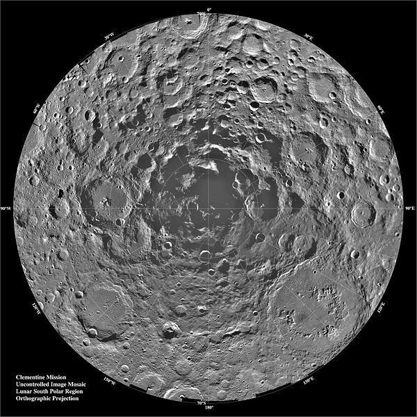 In November 1996, the Clementine mission reported detection of water ice on the South Pole of the Moon.  Image credit: NASA.
