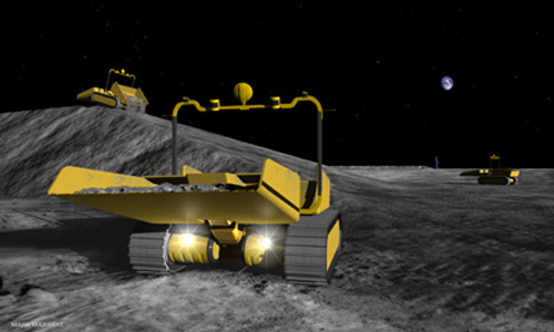 Small commercial robots the size of riding mowers could prepare a safe landing site for NASA's lunar outpost by surrounding it with an eight-foot high semi-circle berm to block grit kicked out by spacecraft landings from hitting nearby habitats.   Credit: Mark Maxwell, Astrobotic Technology.