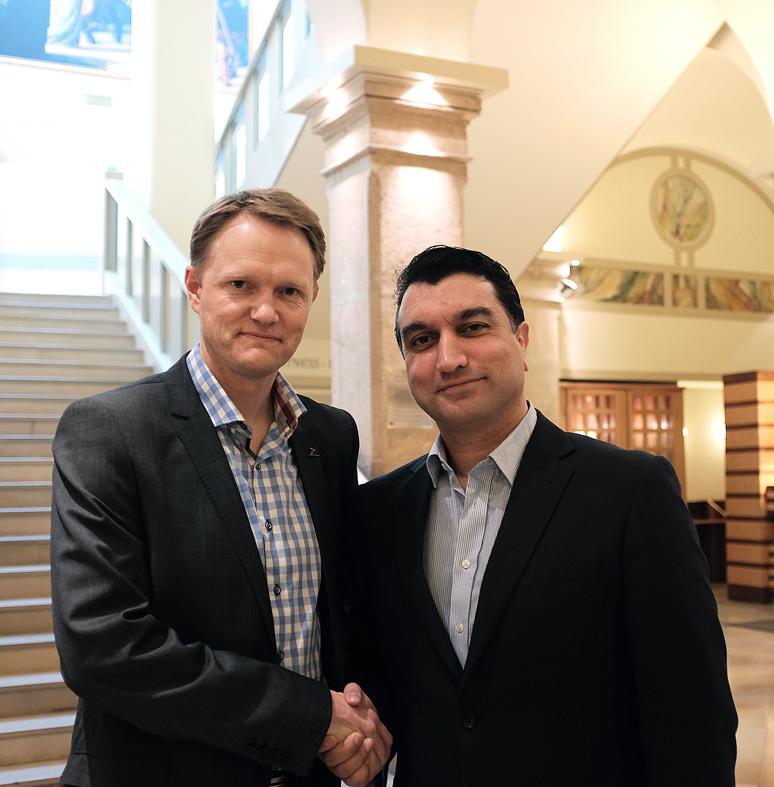 Brage W. Johansen, CEO of Zaptec and Jim Keravala, COO of Shackleton Energy Company in Vienna on March 12, 2015.