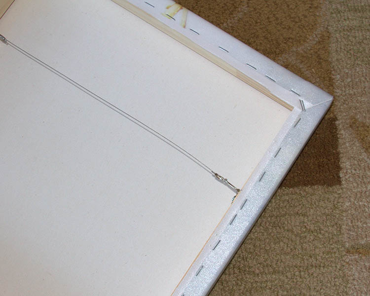 Back of Canvas Wrap with wire hanger