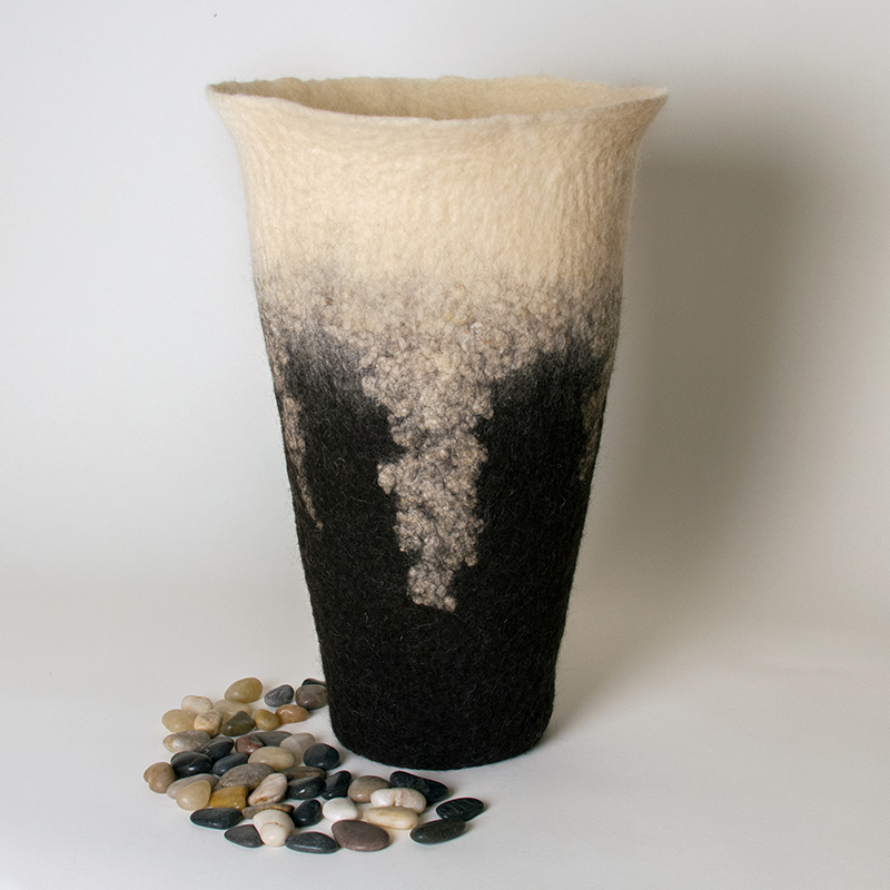 Wet Felted Sculptural Vessel by Karen Waters