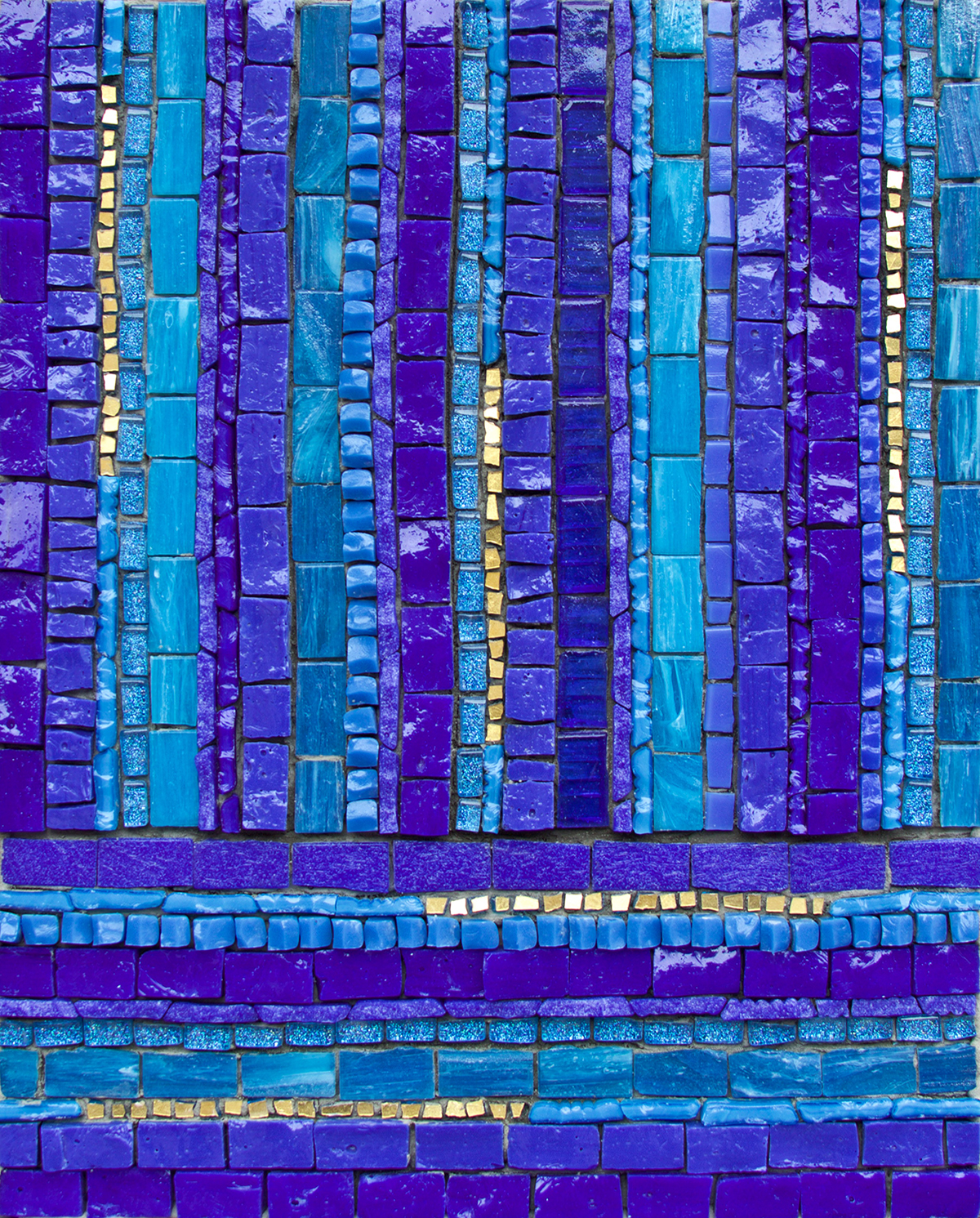 "Beginner's Mind #2  . 10"" x 8"" | 25cm x 20cm. Smalti, vitreous, mosaic gold, other glass"