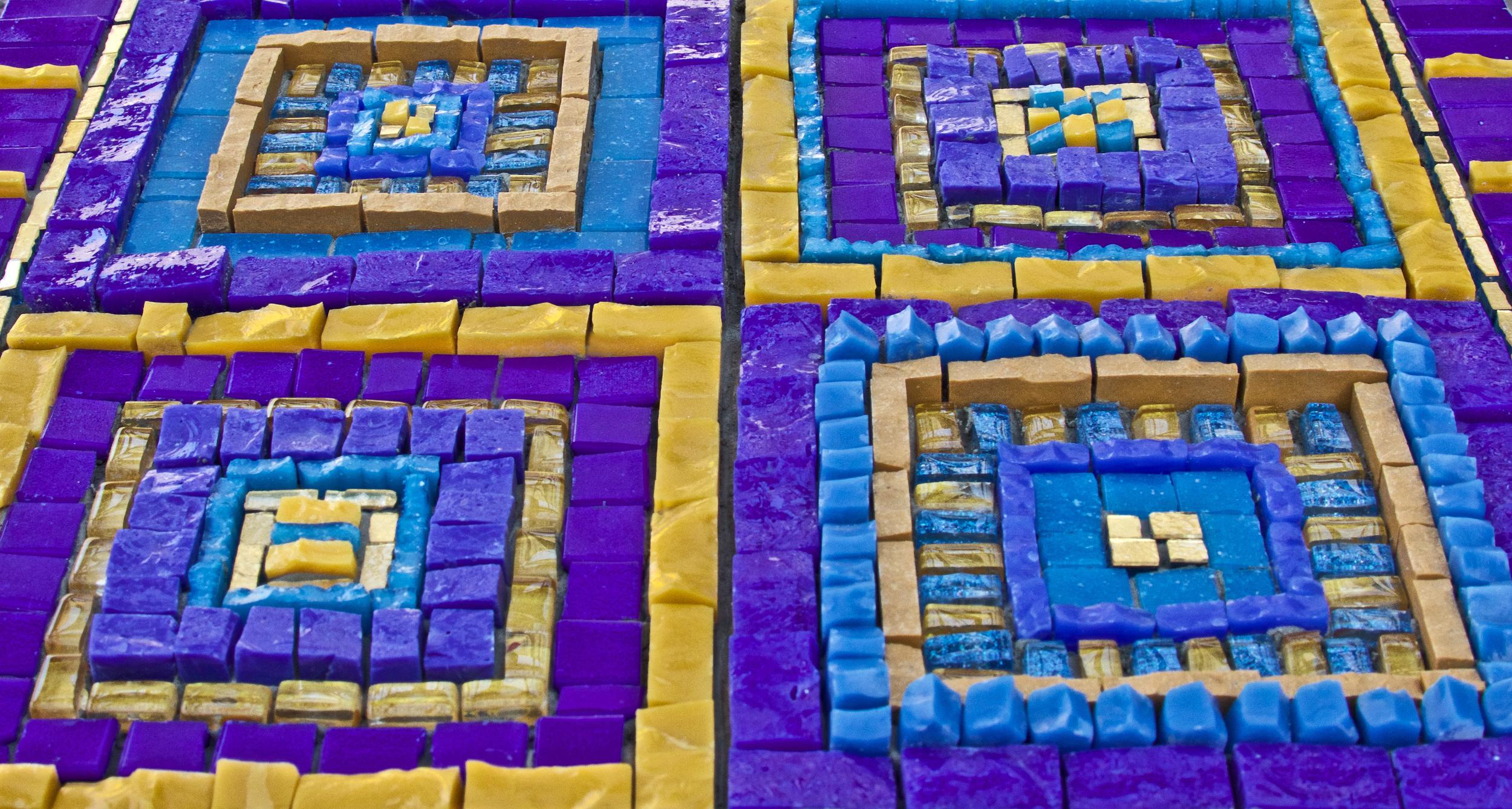 "Beginner's Mind #3  ,detail. 10"" x 8"" | 25cm x 20cm. Smalti, mosaic gold, vitreous, other glass"