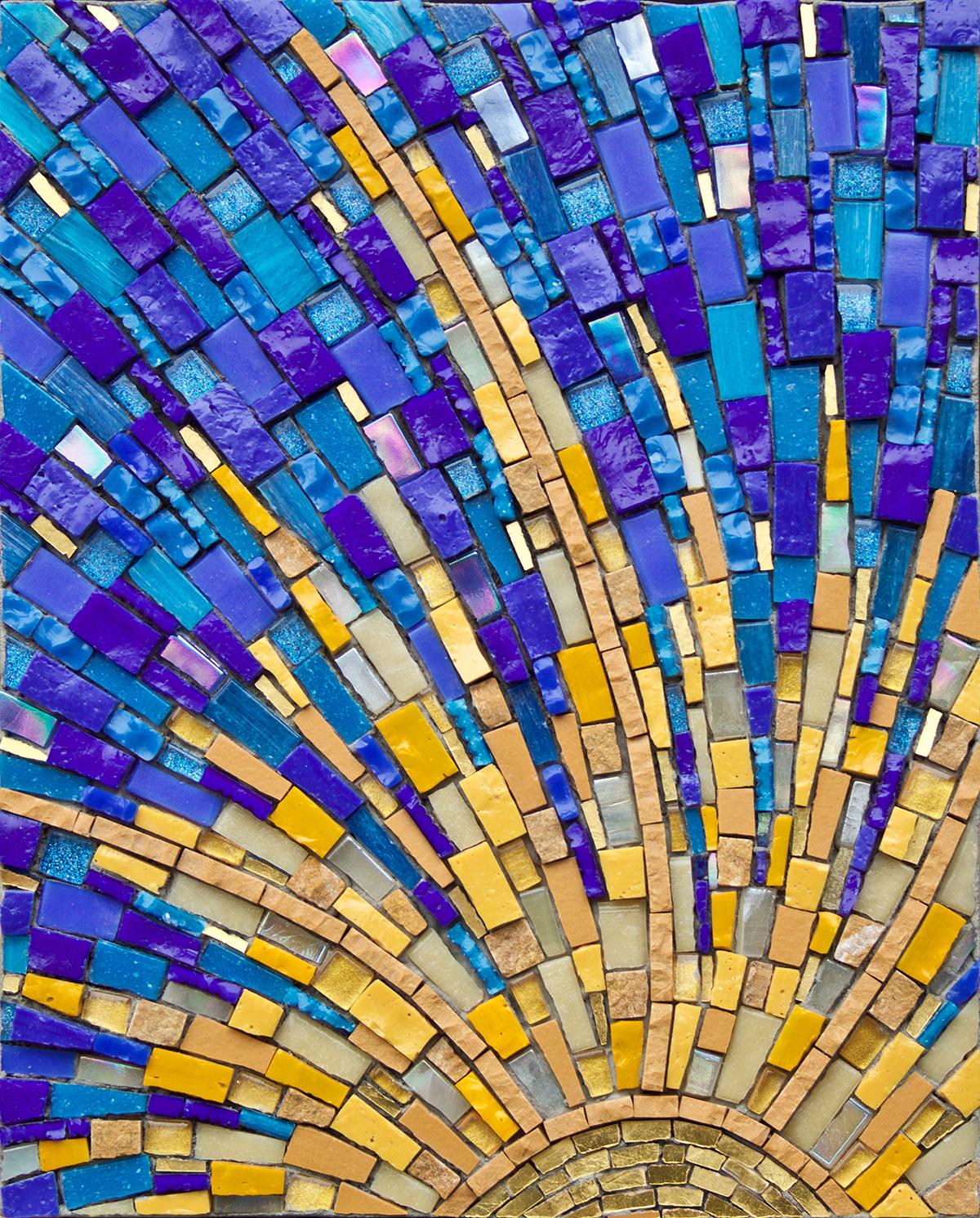 "Beginner's Mind #4  . 10"" x 8""   25 cm x 20 cm. Smalti, porcelain, mosaic gold, vitreous, other glass"