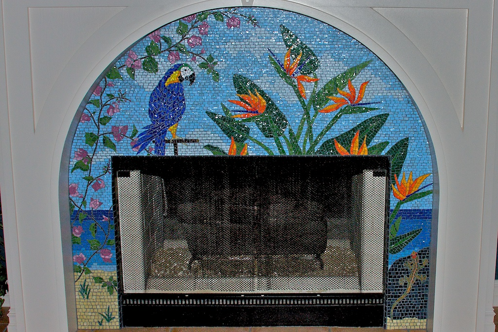 Tropical Fireplace Surround  1996-1997. Smalti, mosaic gold.