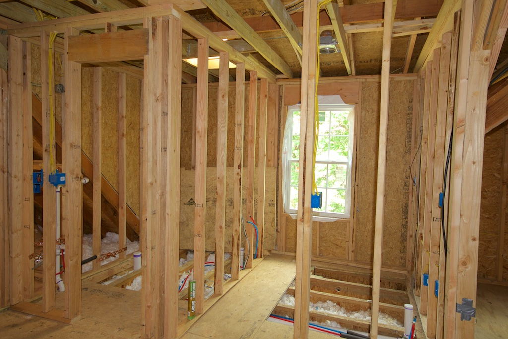 The bath and kitchen have been framed, and you can see the skylight in the bathroom, just to the left.
