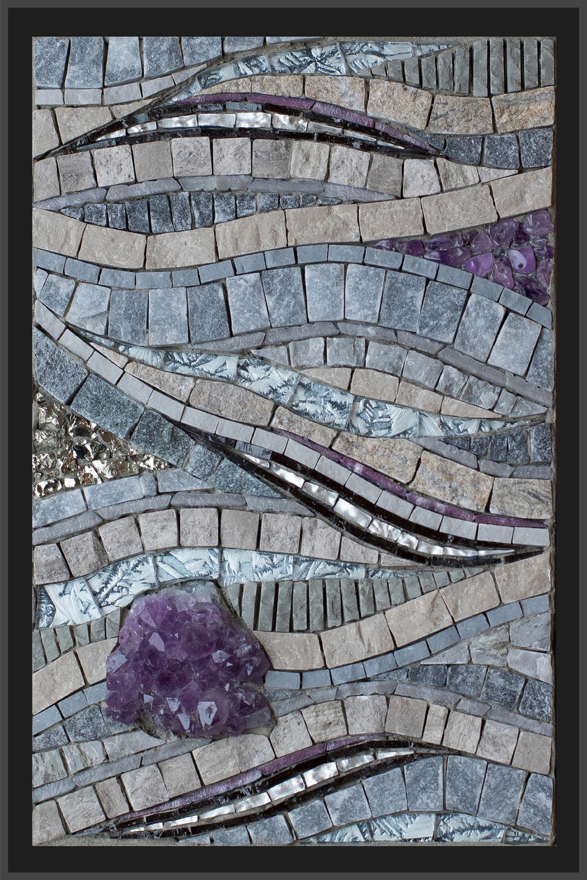 "On the Horizon  (2017) 8.5"" x 5.5""| 22cm x 14cm.Marble, porcelain, vitreous, Van Gogh glass, mosaic gold, contorno, amethyst. pyrite"