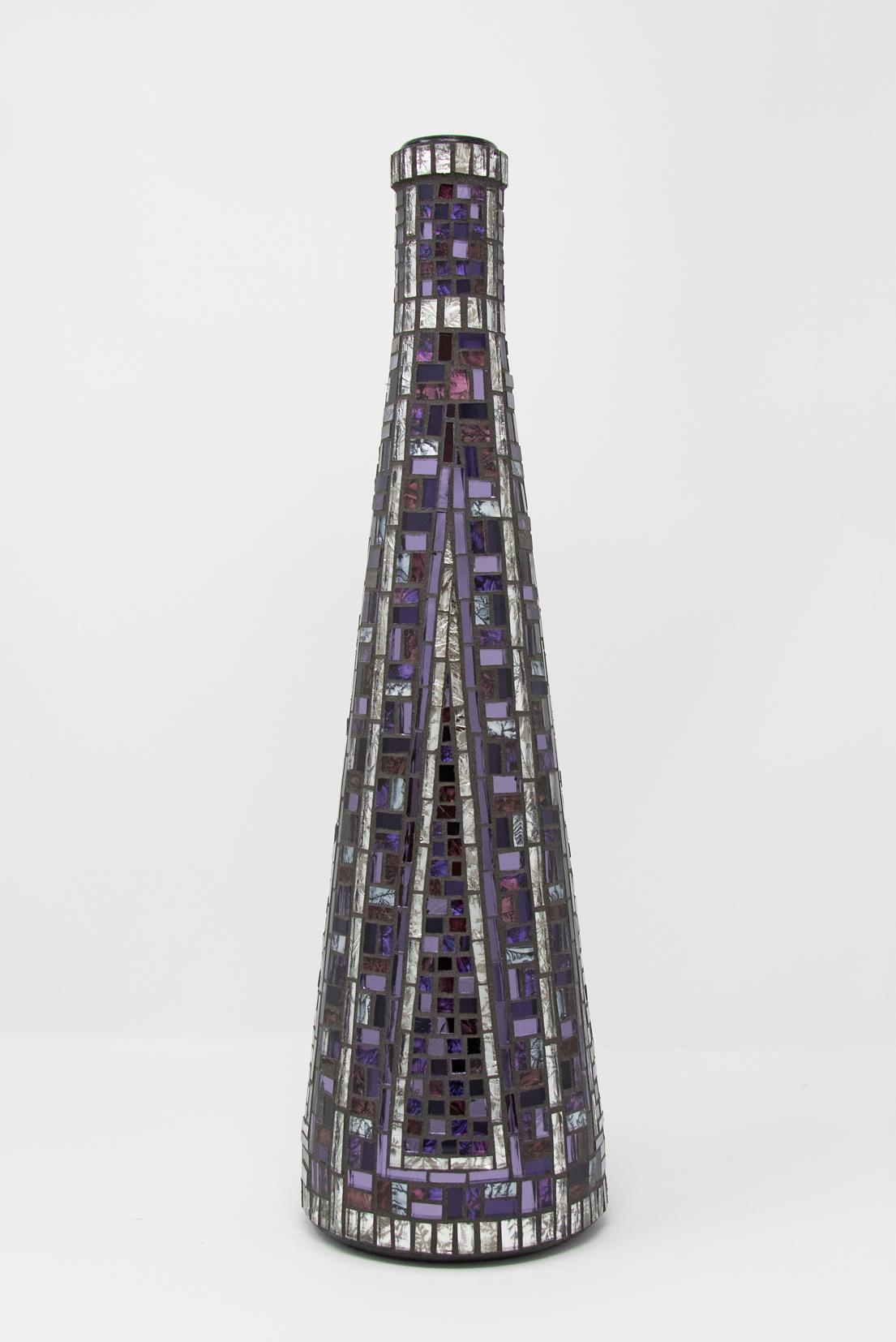 """(2017)  Purple and Silver Bottle  14"""" x 4.25"""" 