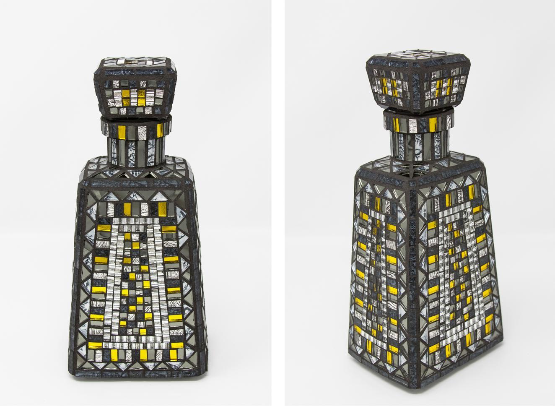 "Gray and Yellow Bottle   (2017) 9.5"" x 4.5"" x 3.5""   24 cm x 11 cm x 9 cm. Mirror and Van Gogh glass."