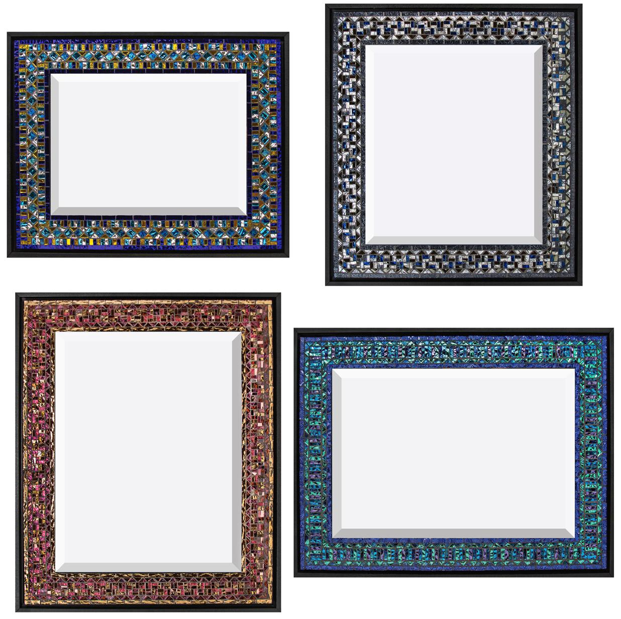 "Clockwise from top:  Blue, Yellow, Turquoise  14"" x 17.5;  Grays with Blue  18"" x 16"";  Blue, Purple, Aqua  16"" x 21"";  Red, Rose, Bronze  21"" x 17"". Van Gogh and mirror glass."