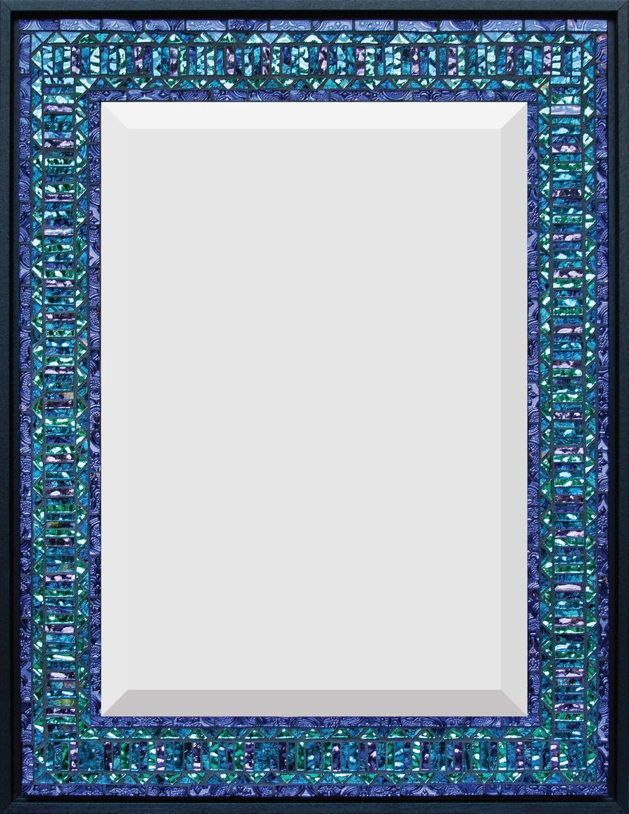 "Blue, Purple, Aqua  16"" x 21"" Mirror and Van Gogh glass."