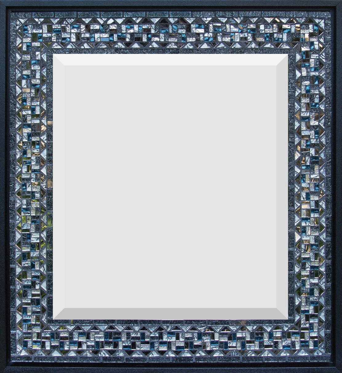 "Gray and Blue  18"" x 16"" Mirror and Van Gogh glass."