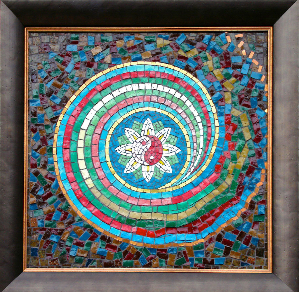 "Chaos Theory  (2003) 18"" x 18"" | 46 cm x 46 cm. Smalti, mosaic gold"