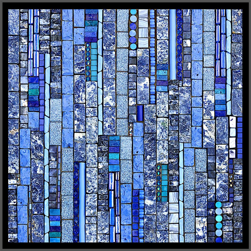 "Rhythms: July  (2008) 8"" x 8"" | 20cm x 20cm. Sodalite, granite, smalti, piastrina, shell, lapis, glass, Swarovski crystals."