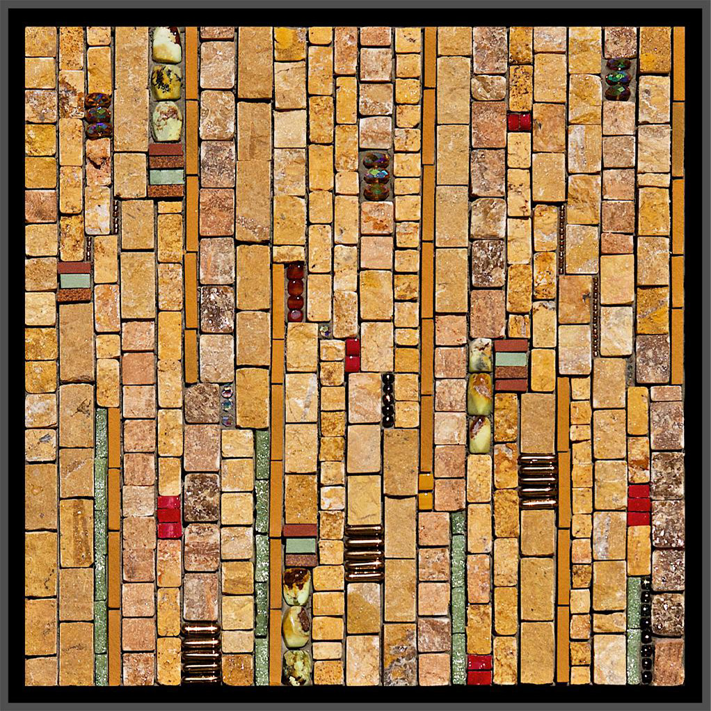 "Rhythms: October  (2008) 8"" x 8"" | 20cm x 20cm. Marble, travertine, onyx, porcelain, vitreous, carnelian, chrysoprase, piastrina, other glass, seed beads."