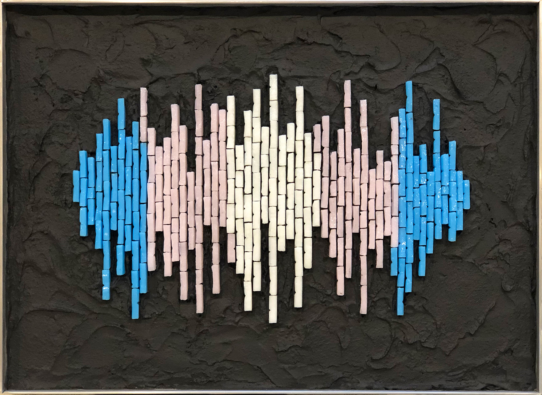 """Trans Frequency 8"""" x 11""""   20cm x 28cm. Vitreous glass, colored mortar."""