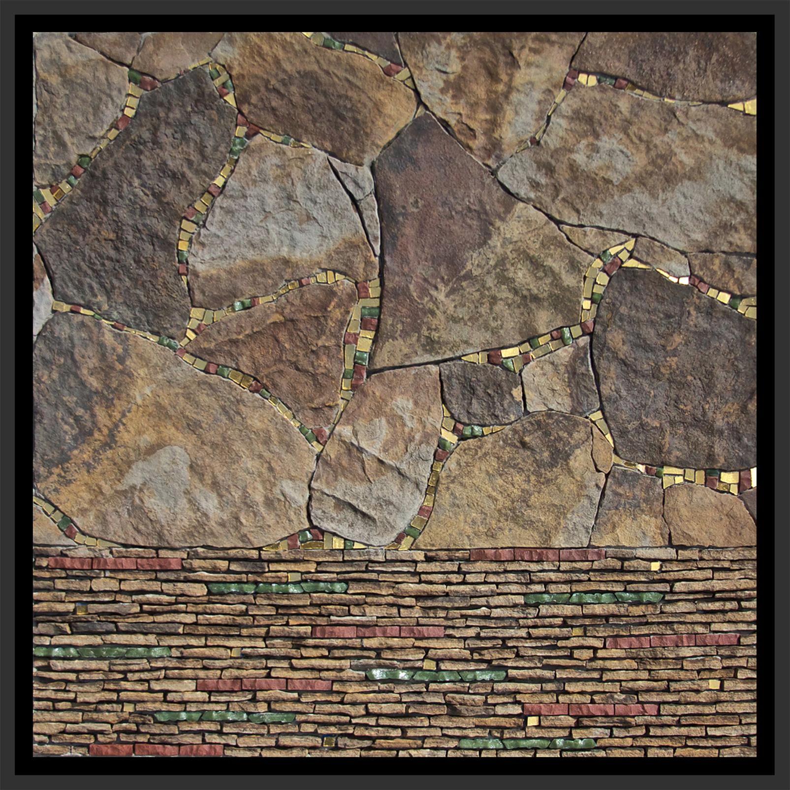 "Meandering   (2014) 12"" x 12"" | 30 cm x 30 cm. Stone, porcelain, glass, mosaic gold."