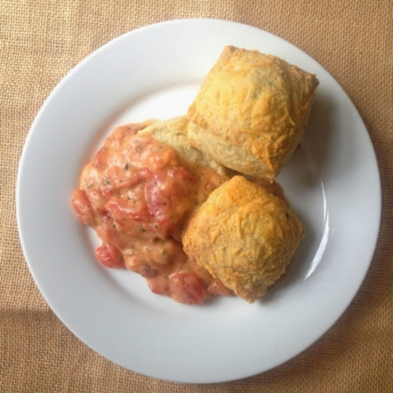 Cheddar Chive Biscuits with Tomato Gravy