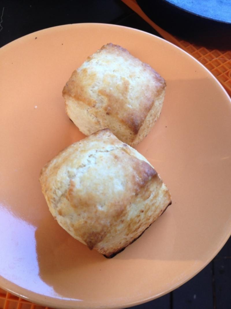 Baked, golden brown biscuits