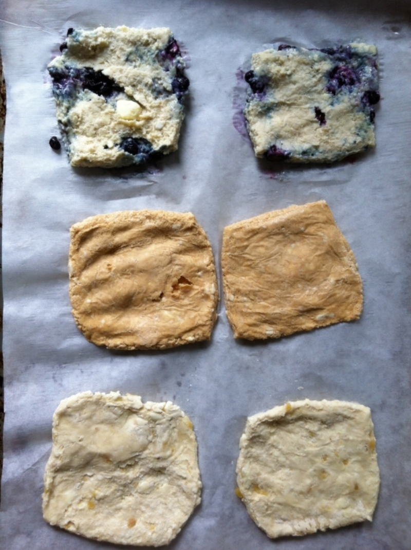 Thin squares of biscuit dough