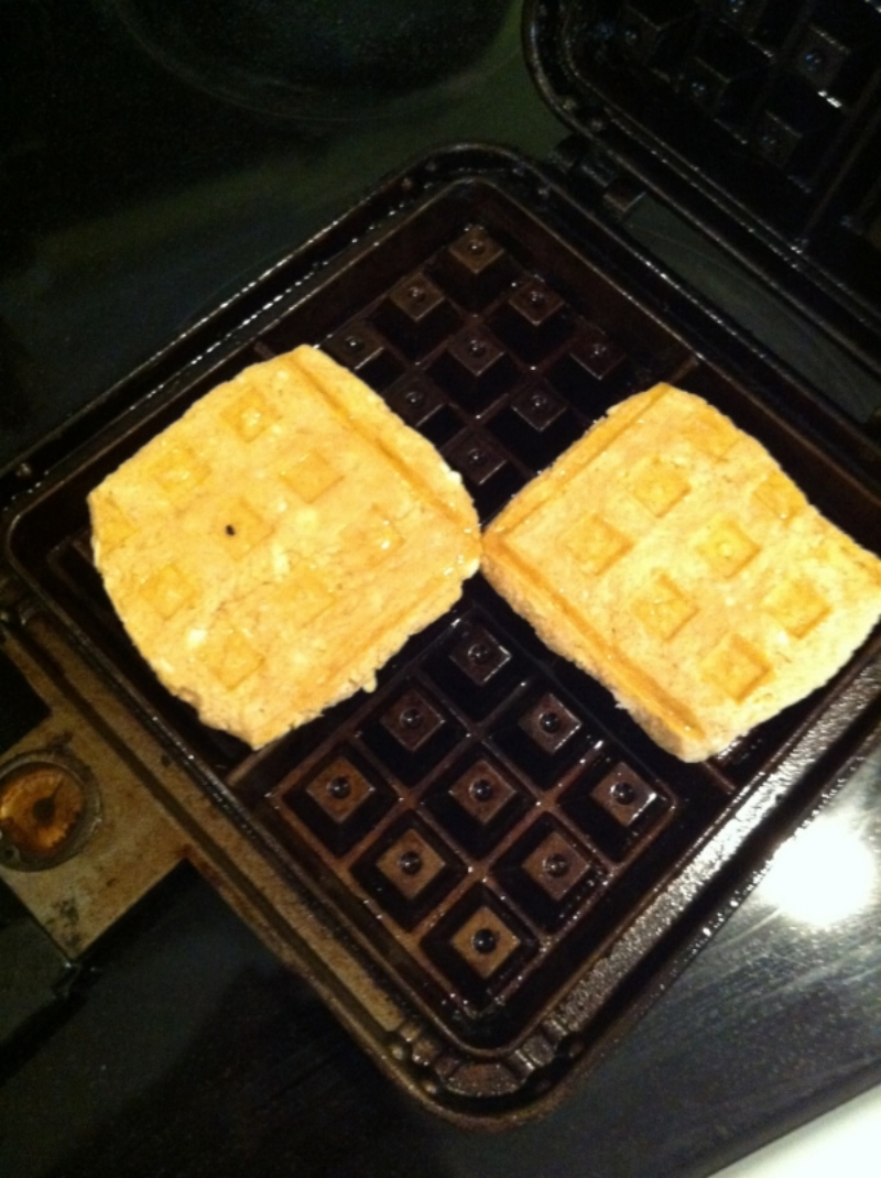 Biscuits in waffle iron