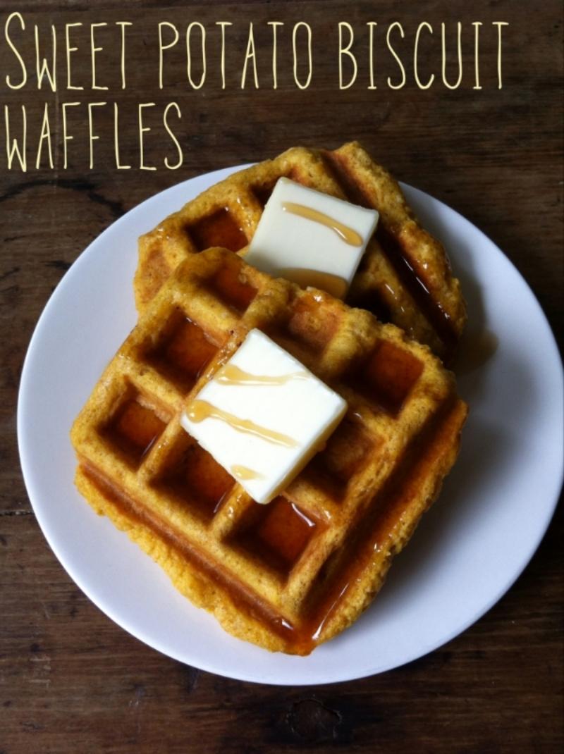 Sweet Potato Biscuit Waffles