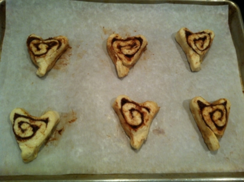 Form Cinnamon Rolls into hearts