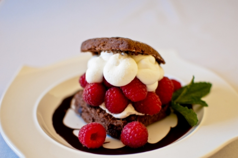 Raspberry Shortcake on a Double Chocolate Biscuit