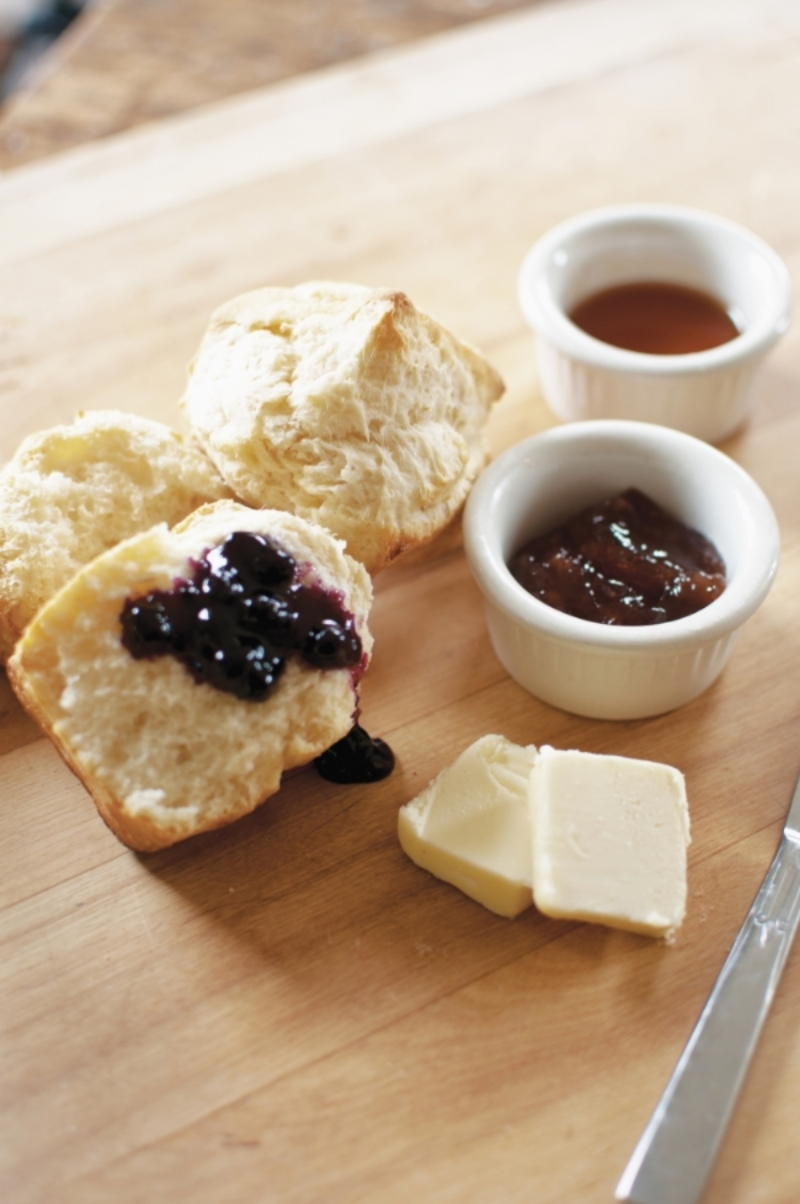 Cream Cheese Biscuits with jam, butter and honey