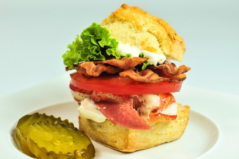 Lobster BLT on a Cream Cheese Biscuit