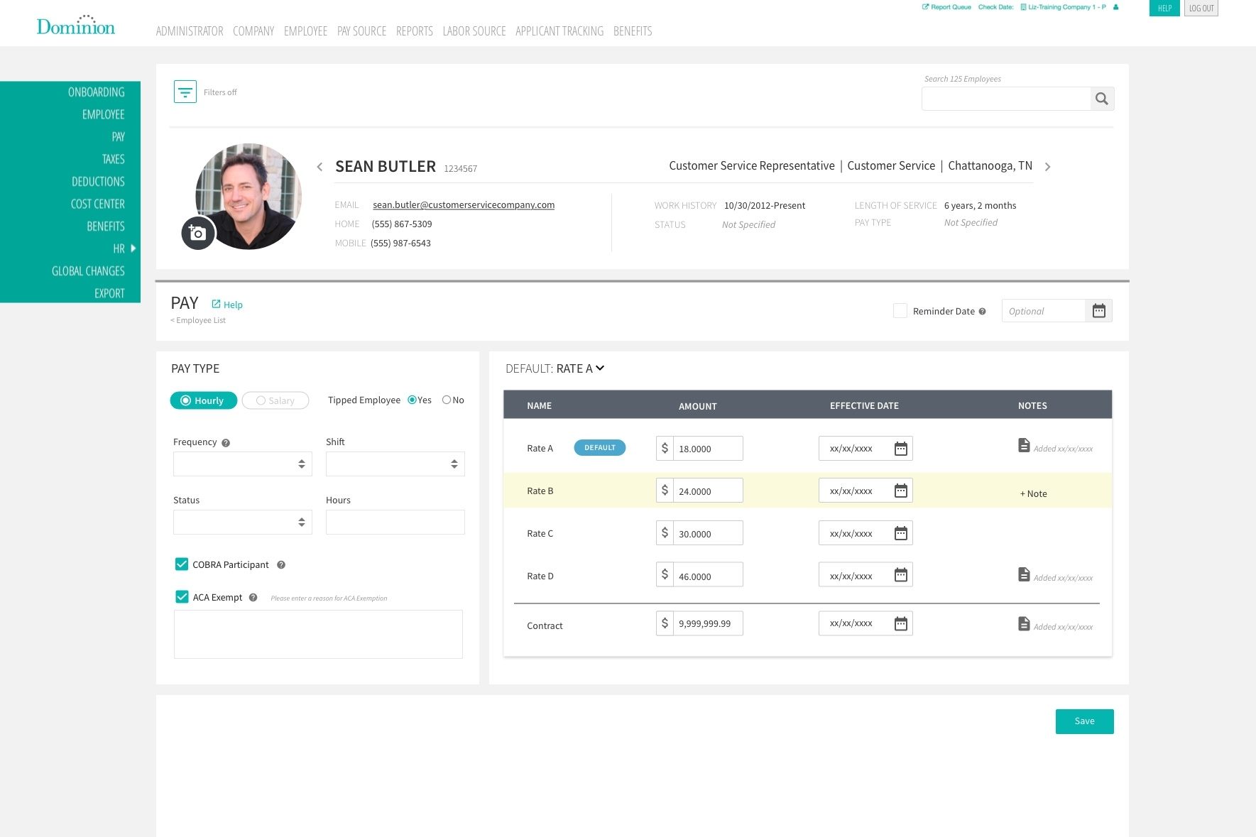 Here is the view of your Hourly employee screen.
