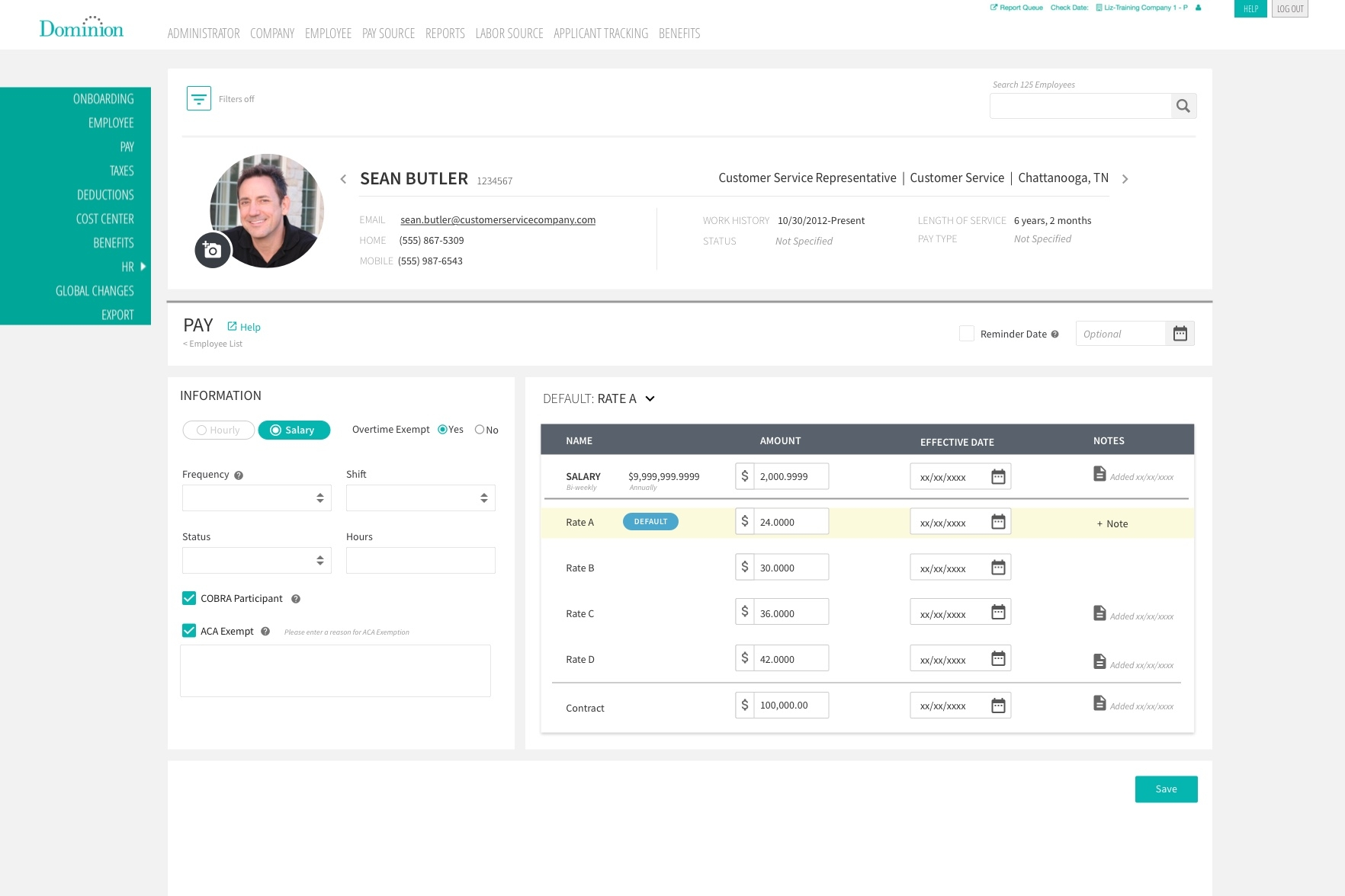 Here is the view of your Salary employee screen.