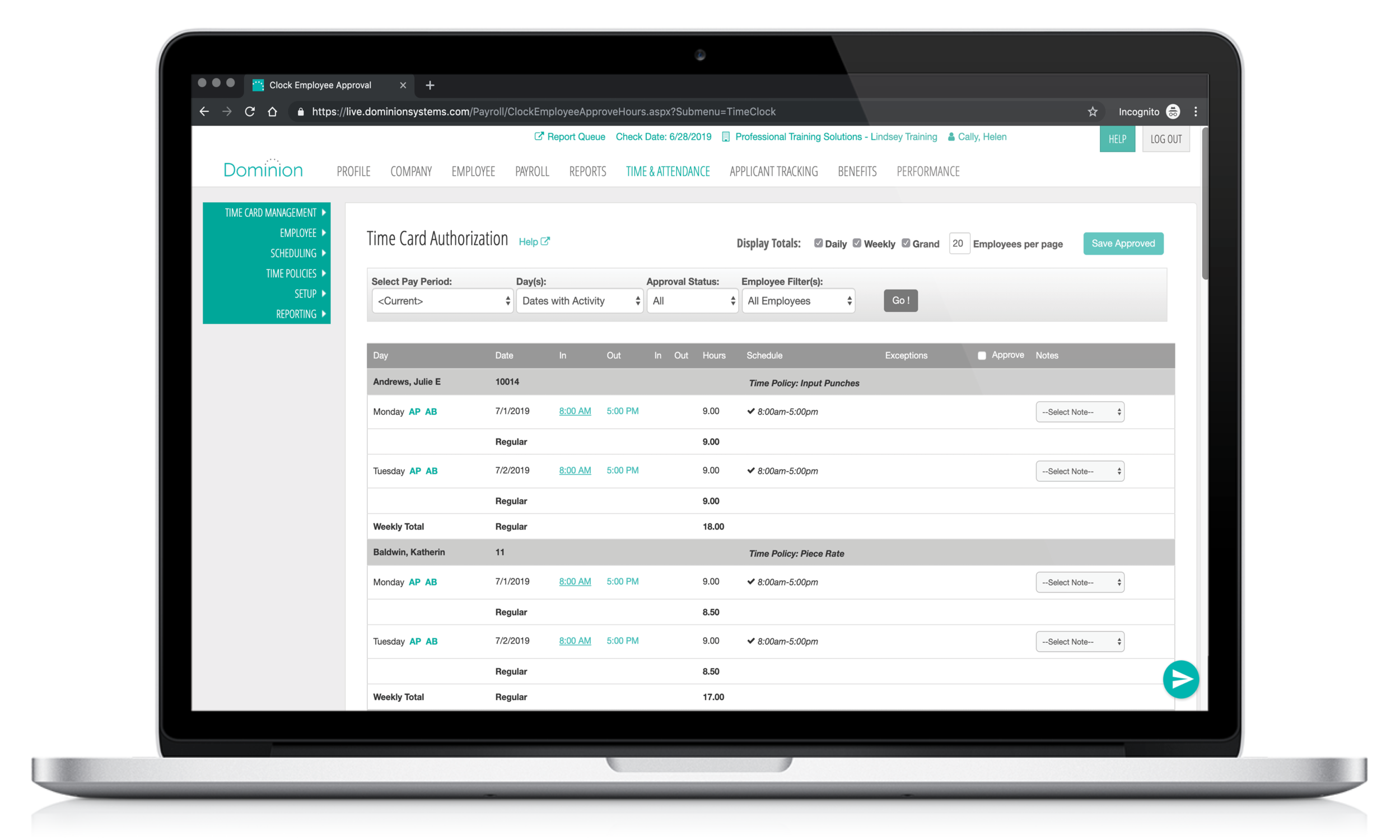 Dominion's Time & Attendance software showing on desktop and Iphone screen